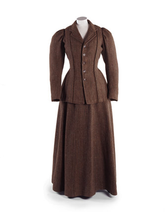 Woman's brown and green tweed suit; c.1900