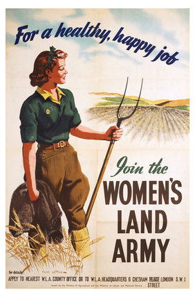 Poster of a women in land army uniform carrying a hoe; c 1939