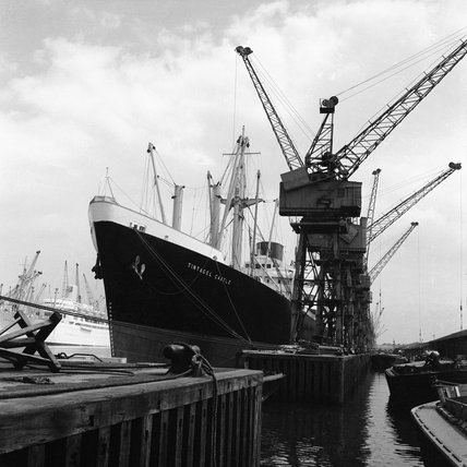 H.M.S. Tintagel Castle berthed at one of London's Docks; c.1960