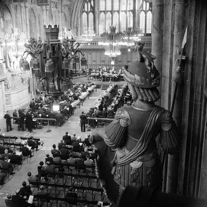 Inside the Guildhall during the Court of Common Council gathering; 1959