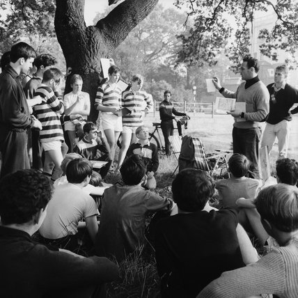 An orienteering team receiving instructions on Wimbledon Common; 1965