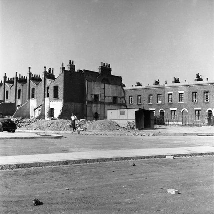 Terraced buildings destined as slum clearance for building the Blackwall Tunnel