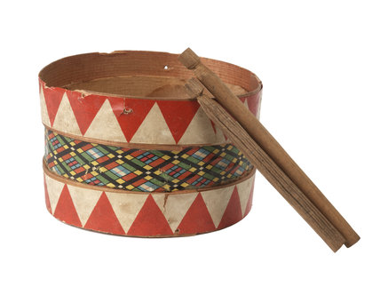 Miniature toy wooden drum and two drumsticks; 1906