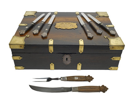 Box and cutlery set: c.1830