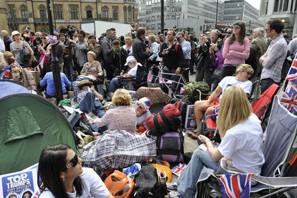 Crowds waiting for the Royal Wedding; 2011