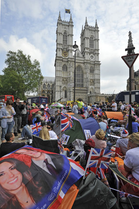 Crowds camping opposite Westminster Abbey; 2011