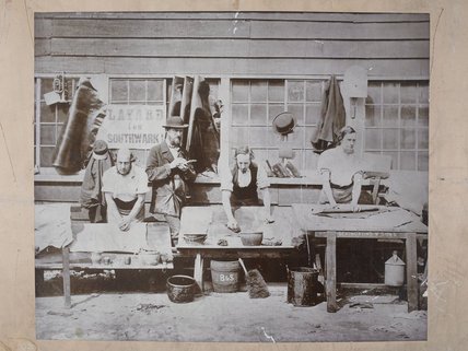 Manufacturing leather, at Bevington & Sons; c.1875
