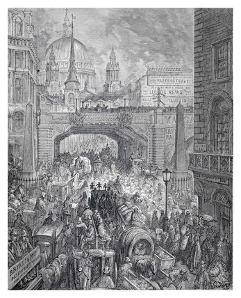 Ludgate Hill - a block in the street: 1872