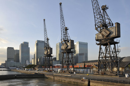 Cranes at the entrance to West India Dock; 2011