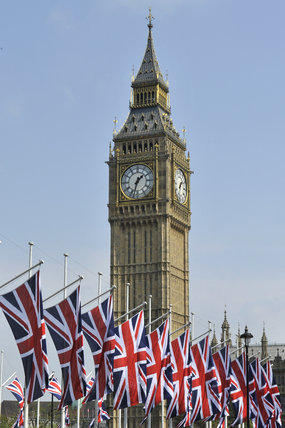 Union Jacks flying in Parliament Square during the Royal Wedding; 2011