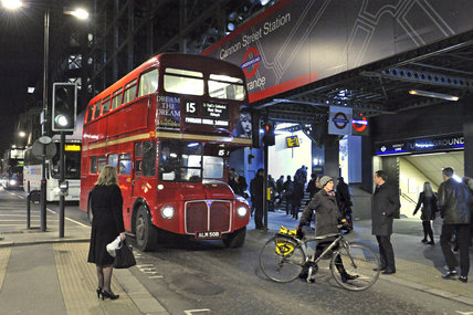 Routemaster bus outside Cannon Street Station; 2011