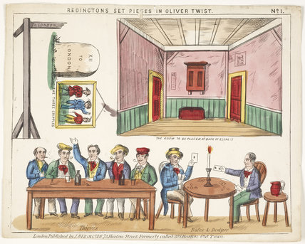 Toy theatre sheet for Oliver Twist: c.1870