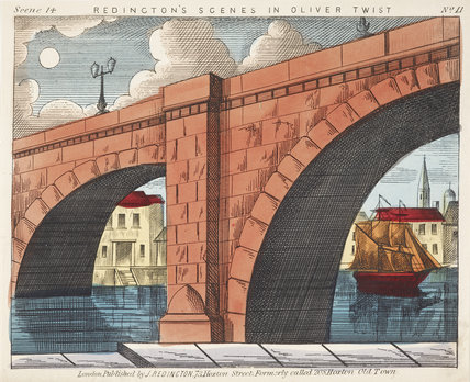 Toy theatre sheet of London Bridge for Oliver Twist: c.1870