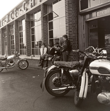 Ton Up boys outside the Ace Cafe: 1963