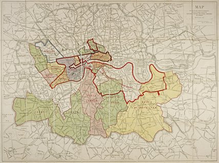 Map of Electric Lighting and Power companies of London: c.1920