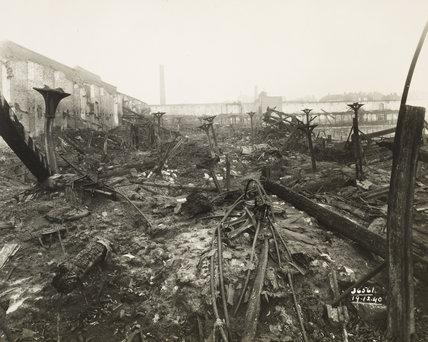 Bomb damage to London Dock: 1940