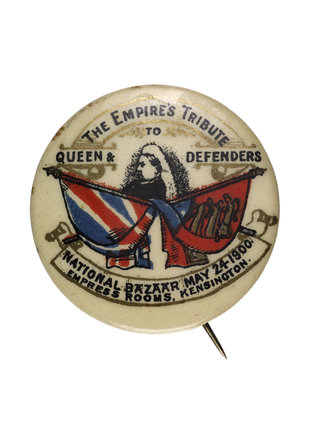 A badge with Queen Victoria flanked by the Union Jack; 1900