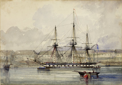 The ship 'Tory' in West India Docks; c.1840