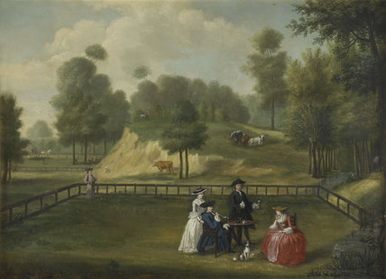 Men and women outdoors; 1753