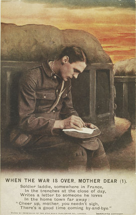 World War I picture postcard of soldier; 1914-1915