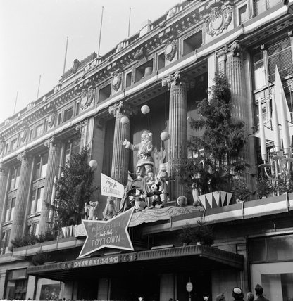 Exterior Christmas display at Selfridges, 1953