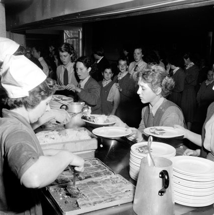 Lunch being served at Kidbrooke Comprehensive School: 1958