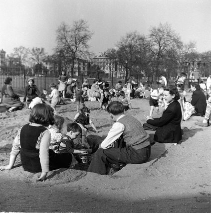 Children playing in a sandpit in Londonc.1954