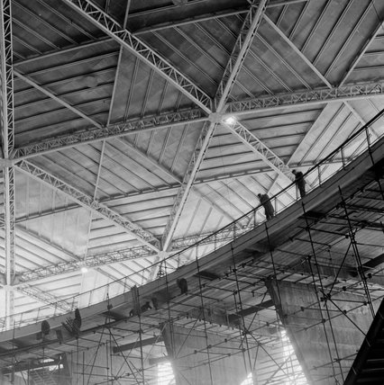 Construction of the Dome of Discovery for the Festival of Britain