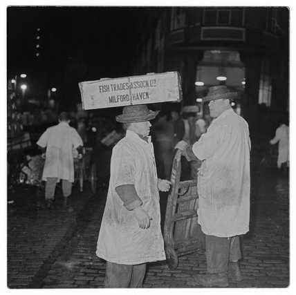 Porters outside Billingsgate Market: 1958
