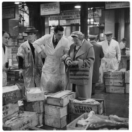 Purchasing fish at Billingsgate Market: 1958