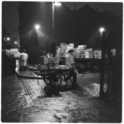 A Billingsgate Porter and his barrow: 1958