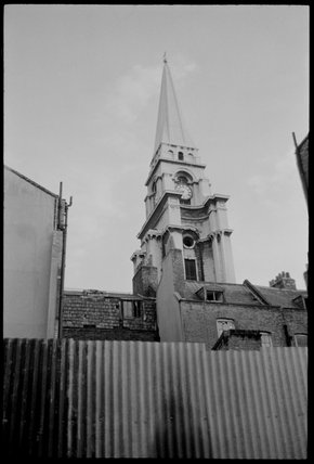 Christchurch Spitalfields steeple: 1974