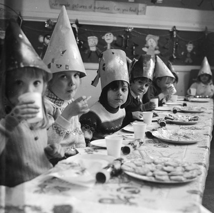 Christmas lunch at Kingsgate Infants School; 1970