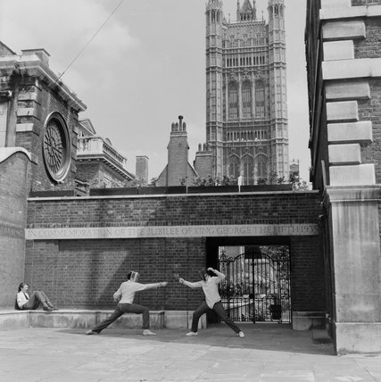 Pupils from Westminster School fencing; c.1962