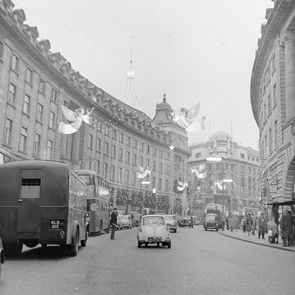 Christmas lights in Regents Street; 1960