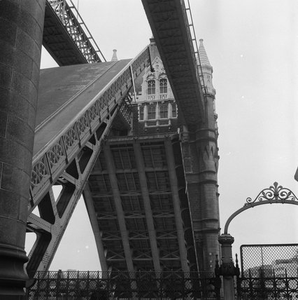 Tower Bridge, raised to allow ships to pass; 1973