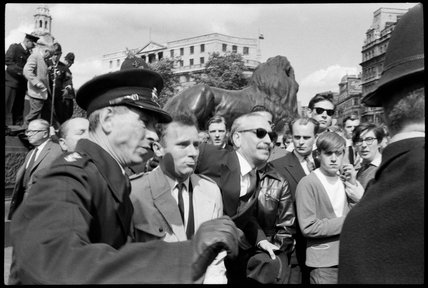 Oswald Mosley at rally in Trafalgar Square, 1962.