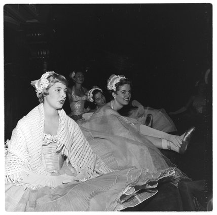 Dancers await the stage call at the London Palladium, 1956.