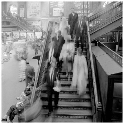 Rush hour on a train station; 1960