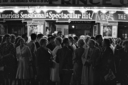 Crowds outside the Prince of Wales Theatre; 1960