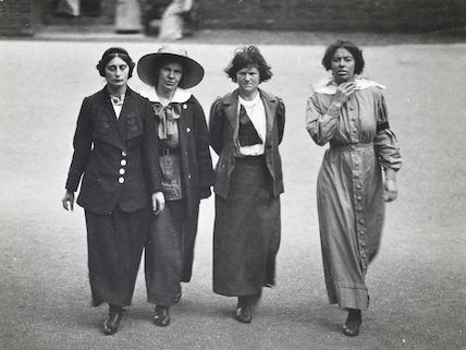 Surveillance photograph of four suffragette prisoners