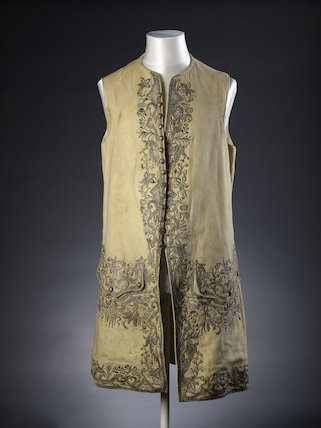 A man's buff leather waistcoat embroidered with silver th