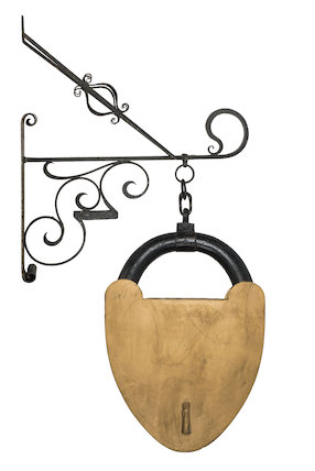 Locksmith's sign & iron bracket; 1850