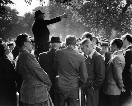 A man addresses the crowd at Speakers Corner in Hyde Park c.1955
