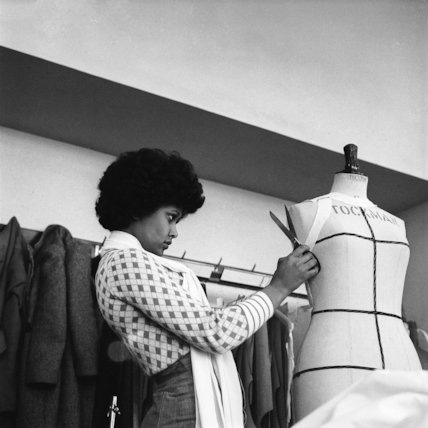 A student works on a dressmaker's dummy at Southgat