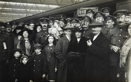 Soldiers leaving for the war from Waterloo Station; 1916.