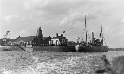 A Trinity House vessel in the Trinity Buoy Wharf, 1939