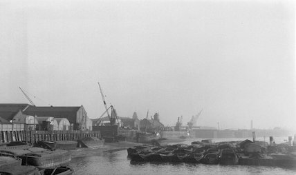 The north bank of the Thames between Blackwall and Trinity Buoy Wharf, 1929.