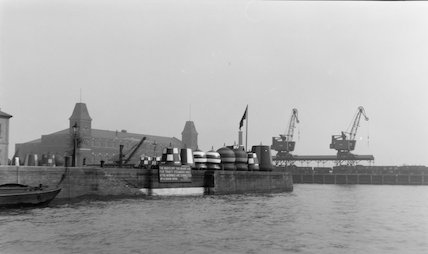 Buoys lined up on the quayside at Trinity Buoy Wharf, Blackwall,