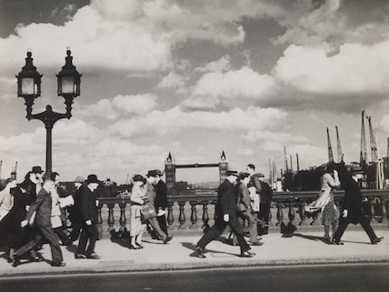 A windy evening on London Bridge; 1935